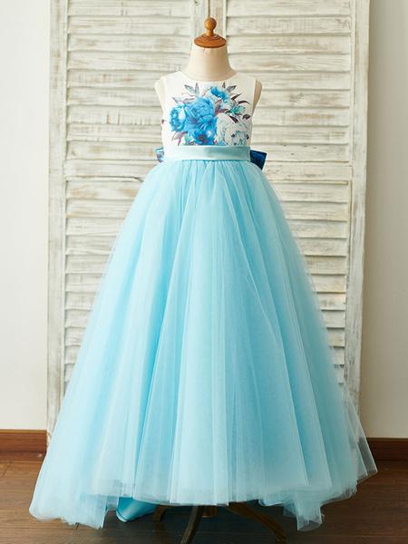 Milanoo Flower Girl Dresses Baby Blue Jewel Neck Sleeveless Bows Kids Party Dresses