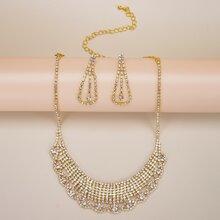 Halskette & Ohrringe mit Strass Dekor