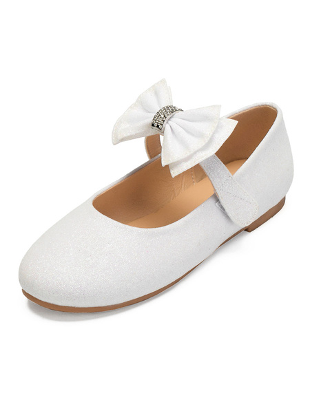Milanoo Flower Girl Shoes Ivory Sequined Cloth Bows Party Shoes For Kids