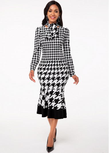Cocktail Party Dress Tie Neck Houndstooth Print Long Sleeve Dress - XL