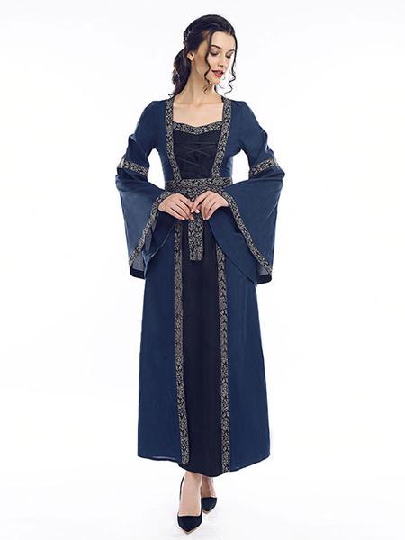 Milanoo Disfraz Halloween Disfraz Medieval Vestido Victoriano de Princesa Vestido Retro de Manga Larga Medieval Renacimiento Halloween 2020 Carnaval H