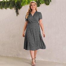 Kleid mit Muster, Wickel Design und Knoten