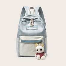 Pocket Front Canvas Backpack With Bag Charm
