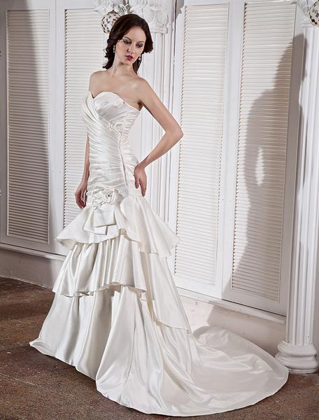 Milanoo Ivory Sweet Heart Pleated Mermaid Trumpet Satin Wedding Dress