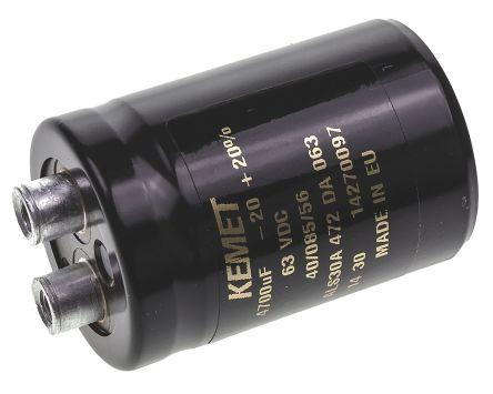 KEMET 4700μF Electrolytic Capacitor 63V dc, Screw Mount - ALS30A472DA063