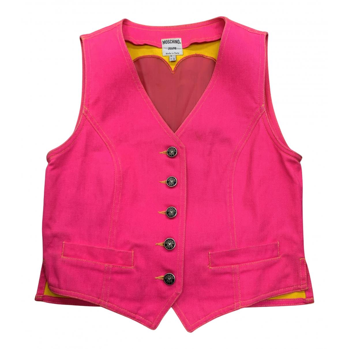 Moschino - Veste   pour femme en denim - rose