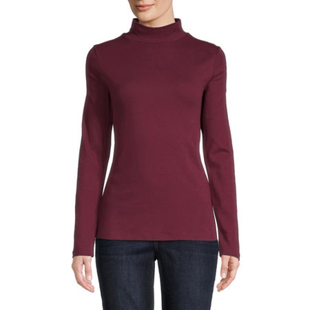 St. John's Bay-Womens Mock Neck Long Sleeve T-Shirt, Small , Red