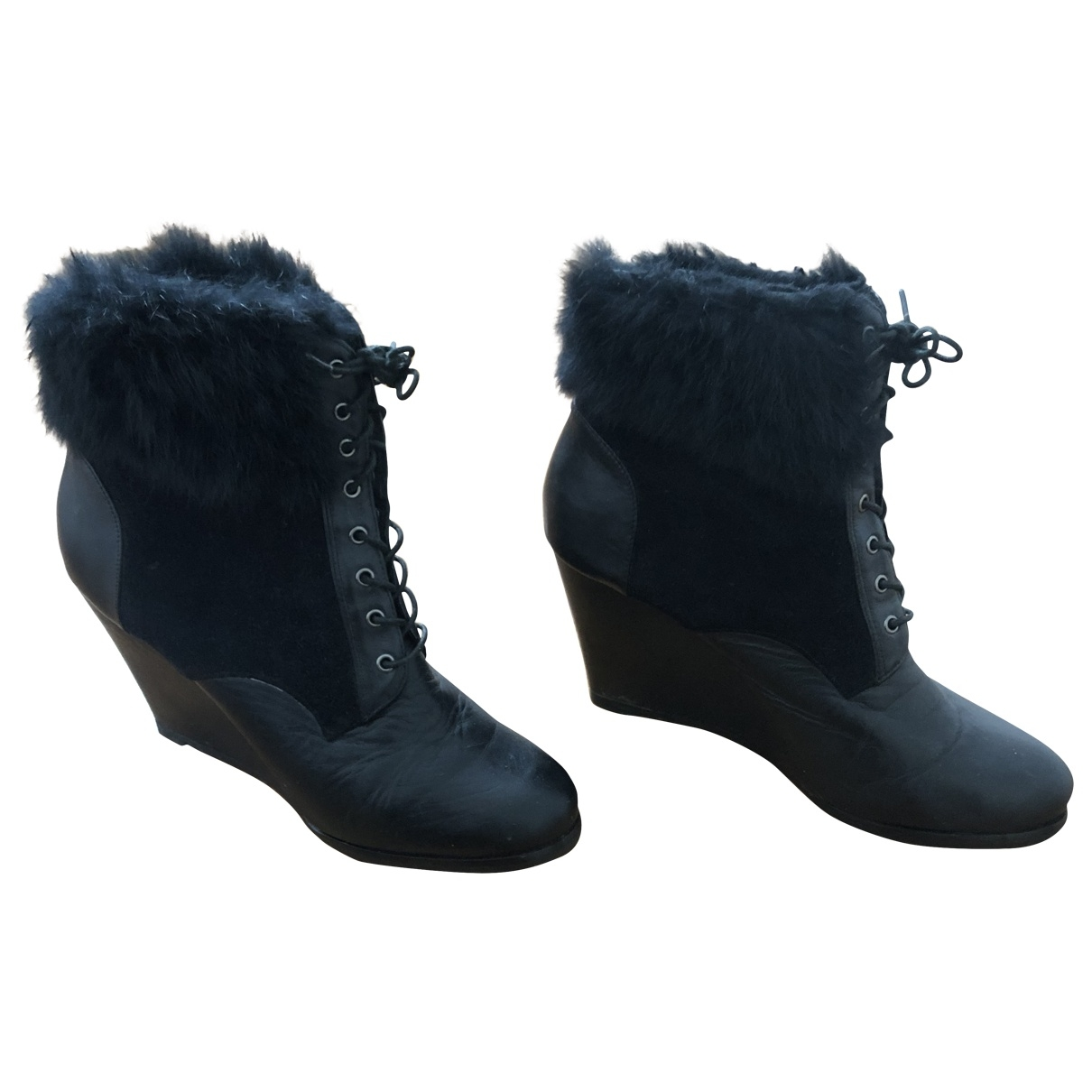 Non Signé / Unsigned \N Black Leather Boots for Women 41 EU
