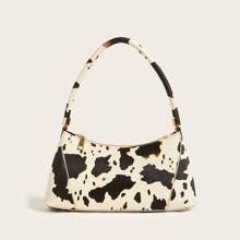 Bolsa tote con diseño de cremallera con patron de vaca