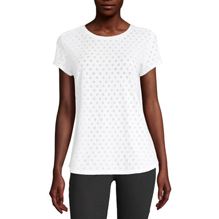 Liz Claiborne-Womens Round Neck Short Sleeve T-Shirt, Xx-large , White