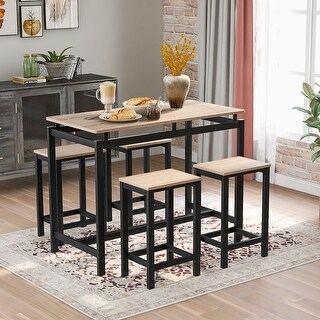 5PCS Kitchen Counter Height Metal Dining Table Set (Oak)