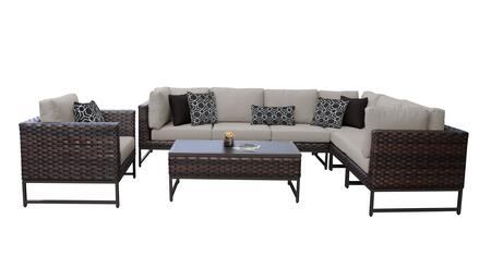 Barcelona BARCELONA-08d-BRN-BEIGE 8-Piece Patio Set 08d with 3 Corner Chairs  1 Club Chair  3 Armless Chairs and 1 Coffee Table - 2 Beige Covers with