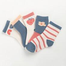 5 pares calcetines de niñitas con patron fruta