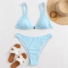 Dreieckiger Bikini Badeanzug mit hohem Ausschnitt