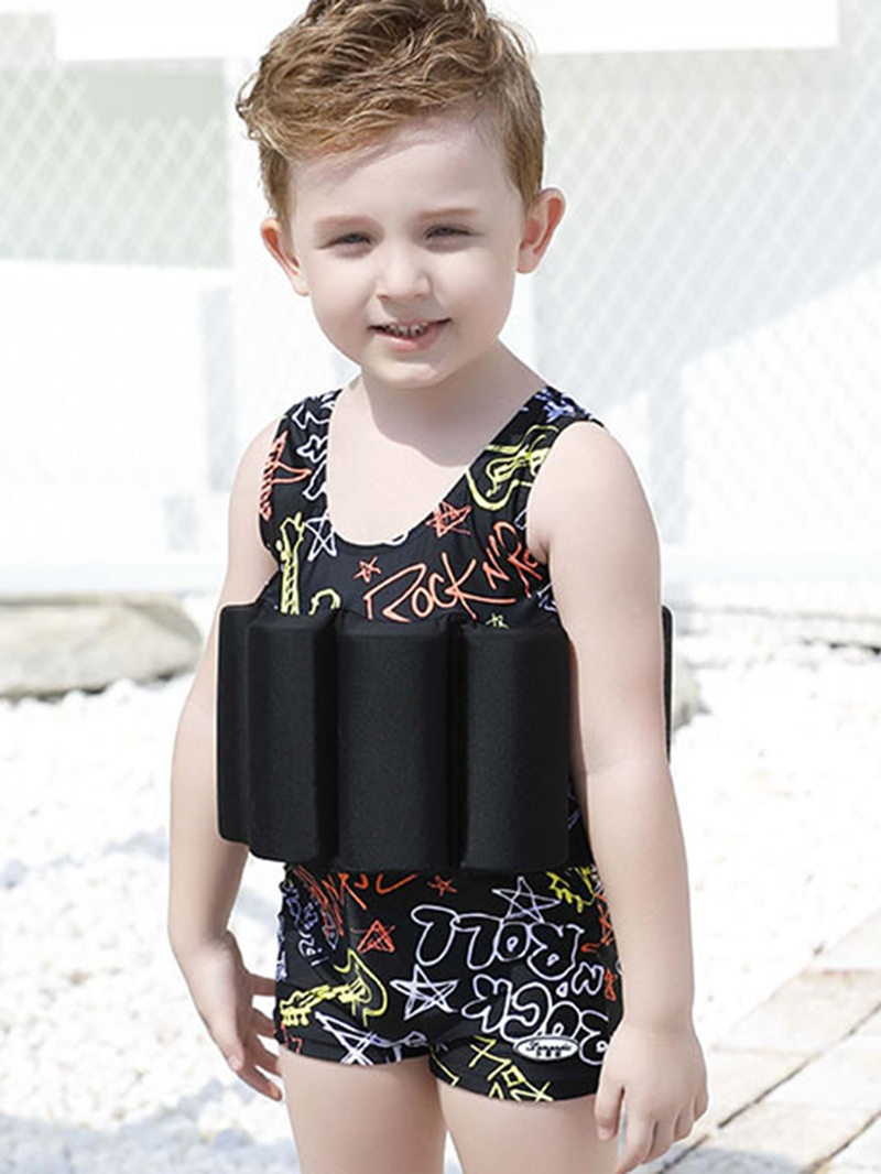 Ericdress Printed One-Piece Boys Buoyancy Swimsuit