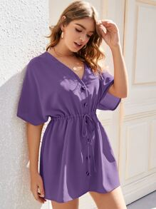Button Up Drawstring Waist Dress