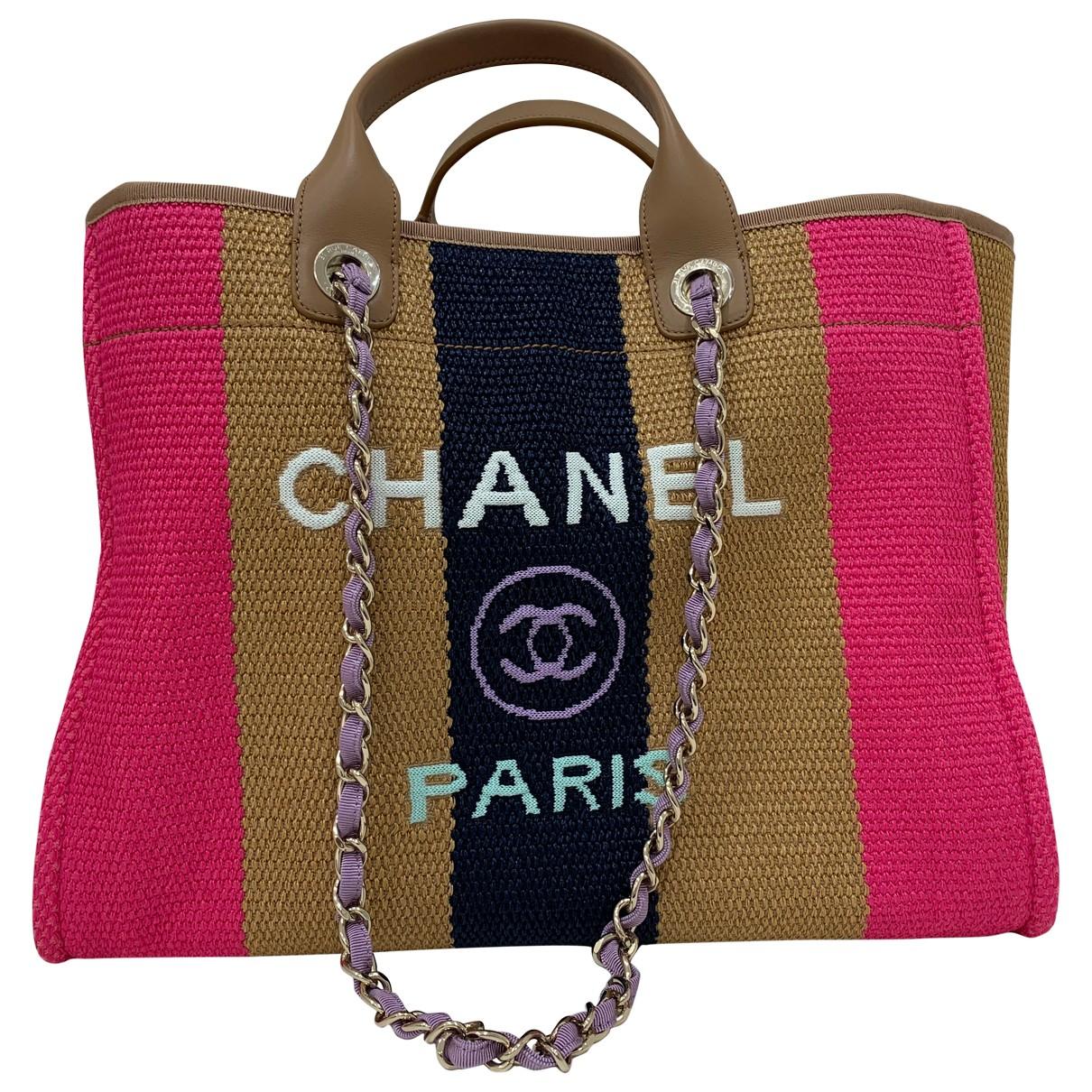 Chanel Deauville Handtasche in  Beige Polyester