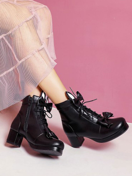 Milanoo Sweet Lolita Boots Bunny Ear Bows Round Toe PU Leather Lolita Footwear