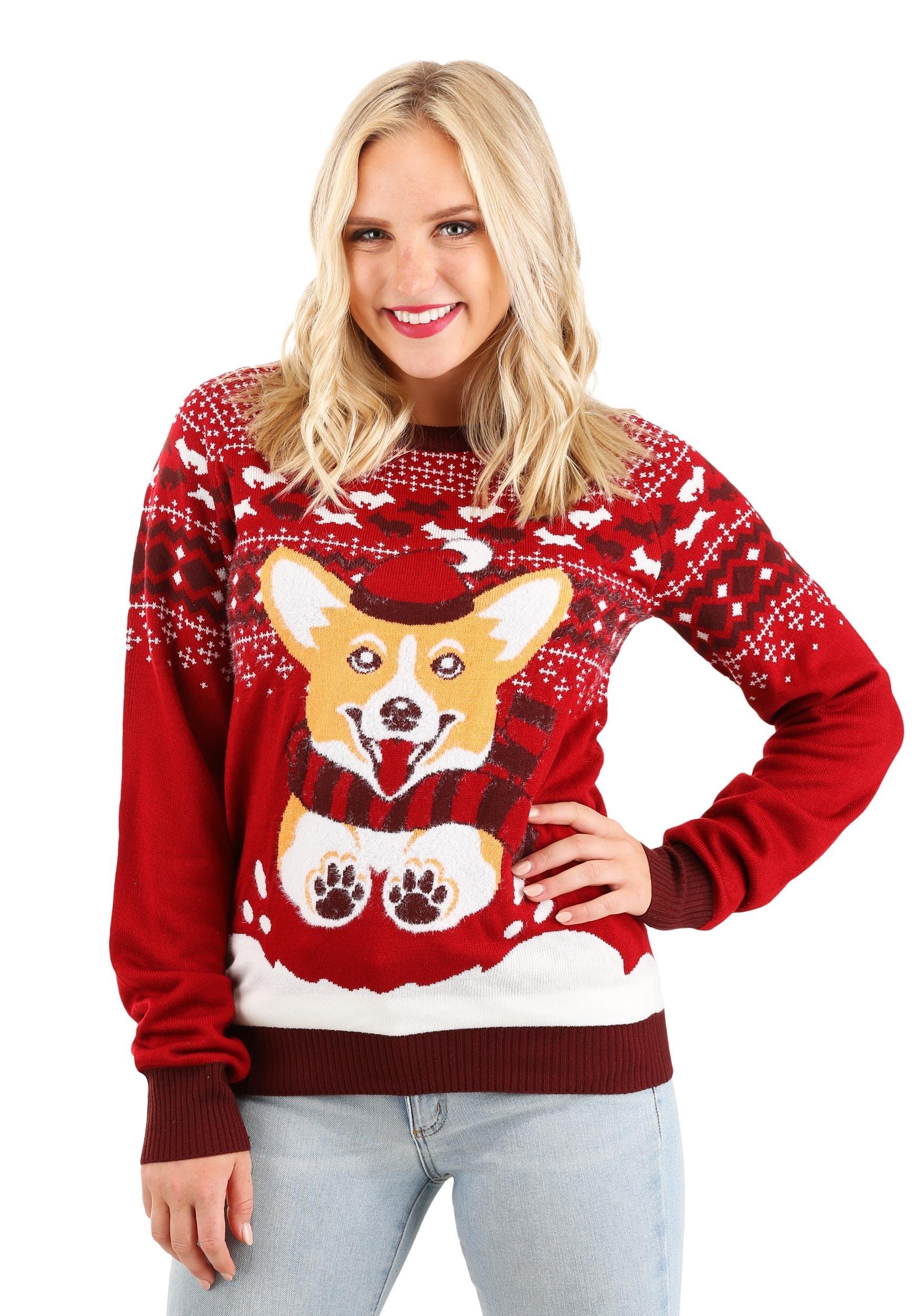 Adult Ugly Christmas Sweater A Very Corgi Christmas