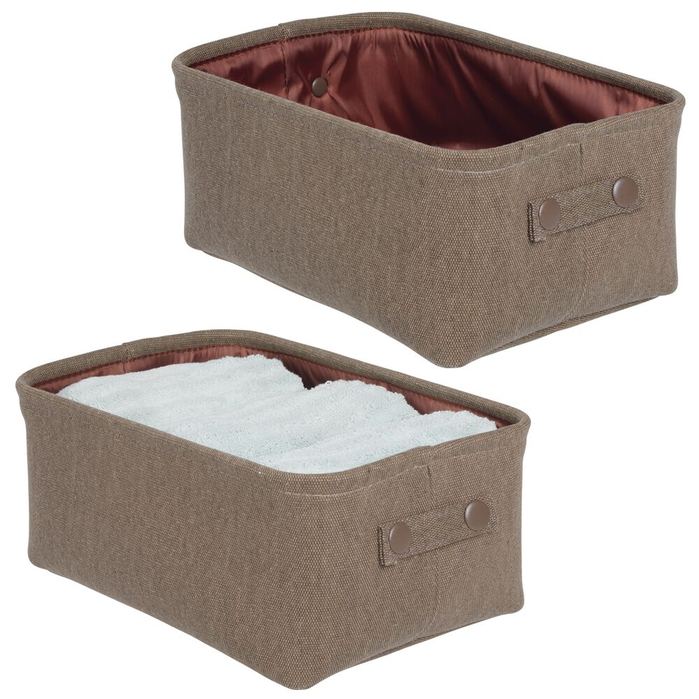 Wide Fabric Bathroom Storage Bin with Coated Interior in Espresso Brown, Set of 2, by mDesign