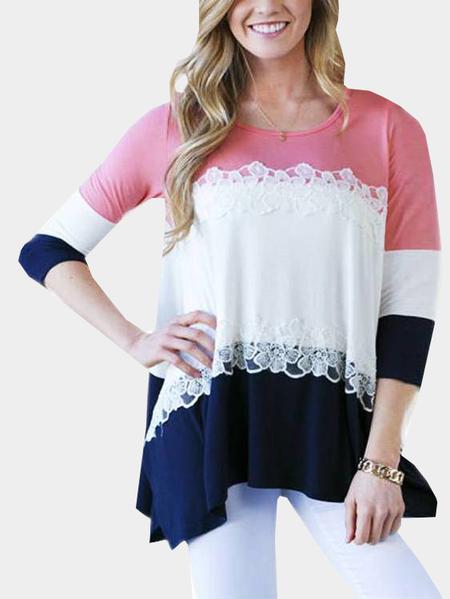 Yoins Multi-color Stitching Irregular Hem Long T-shirts