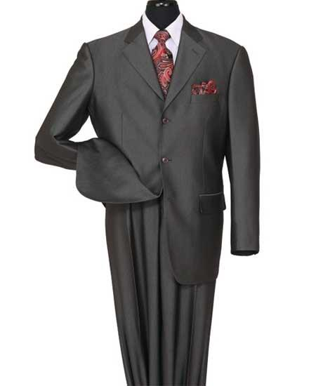 Mens 3 Button Notch Lapel Shiny Sharkskin Black Side Vent Suit