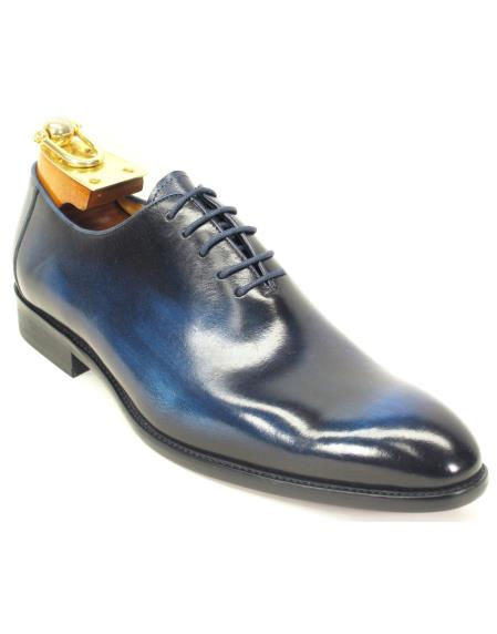 Men's Laceup Style Cobalt Blue Calfskin Leather Oxford Shoes
