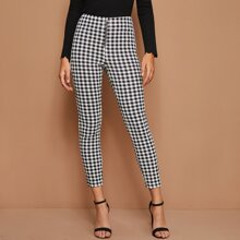 O-ring Zip Front Plaid Pants
