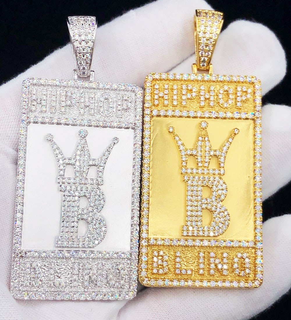 Hip Hop Bling Logo Block Pendant