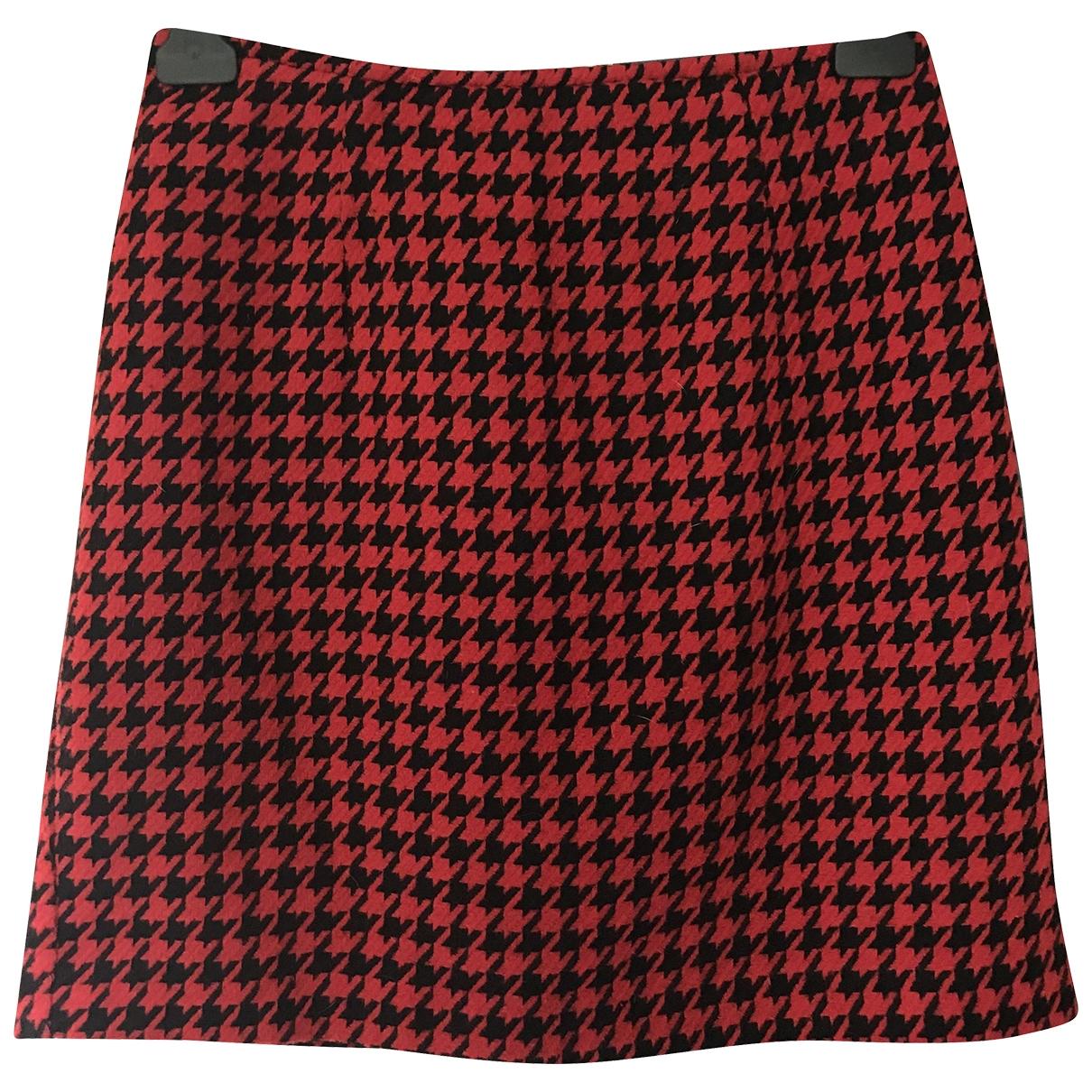 - Jupe   pour femme en laine - rouge