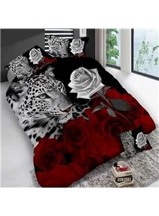 Leopard And Roses Digital Printing Polyester Colorfast Wear-resistant 3D 4-Piece Bedding Sets/Duvet Covers