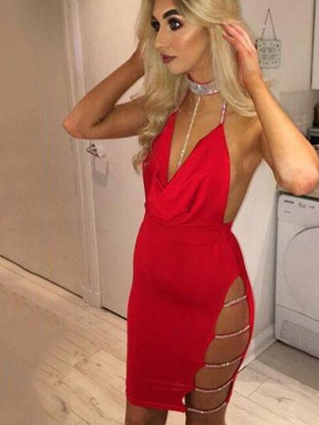 Milanoo Sexy Club Dress Halter Sleeveless Cut Out Rhinestones Backless Party Dress
