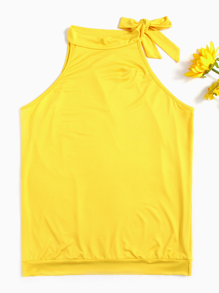 Yoins Yellow Halter Tie-up Design Sleeveless Tee