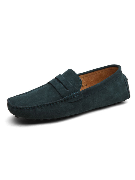 Milanoo Mens Suede Penny Loafers Moccasin Slip-On Driving Shoes