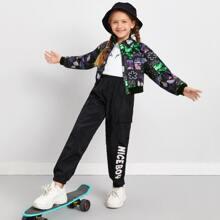 Girls Graphic Zip Up Jacket