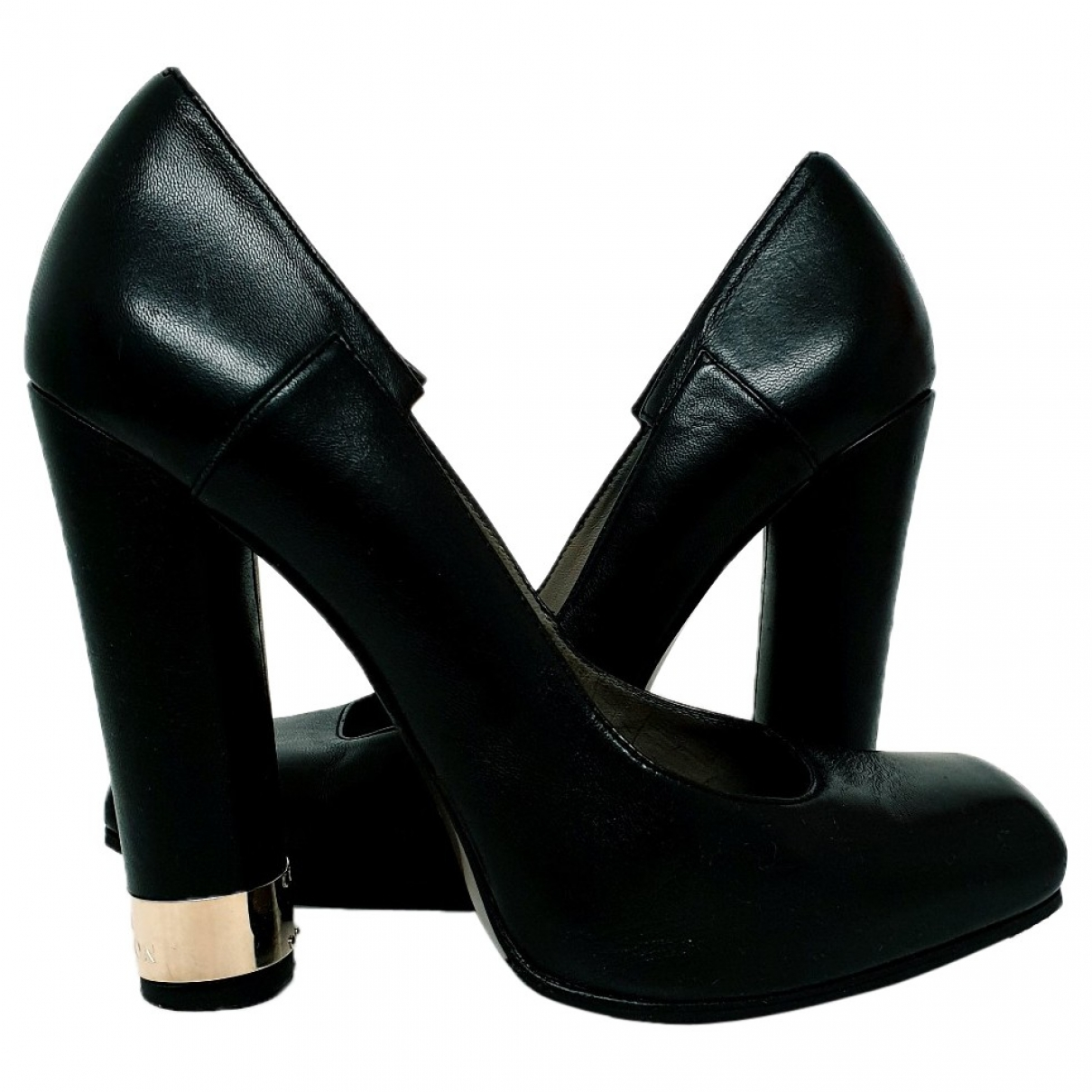 Versace \N Black Leather Heels for Women 38 EU