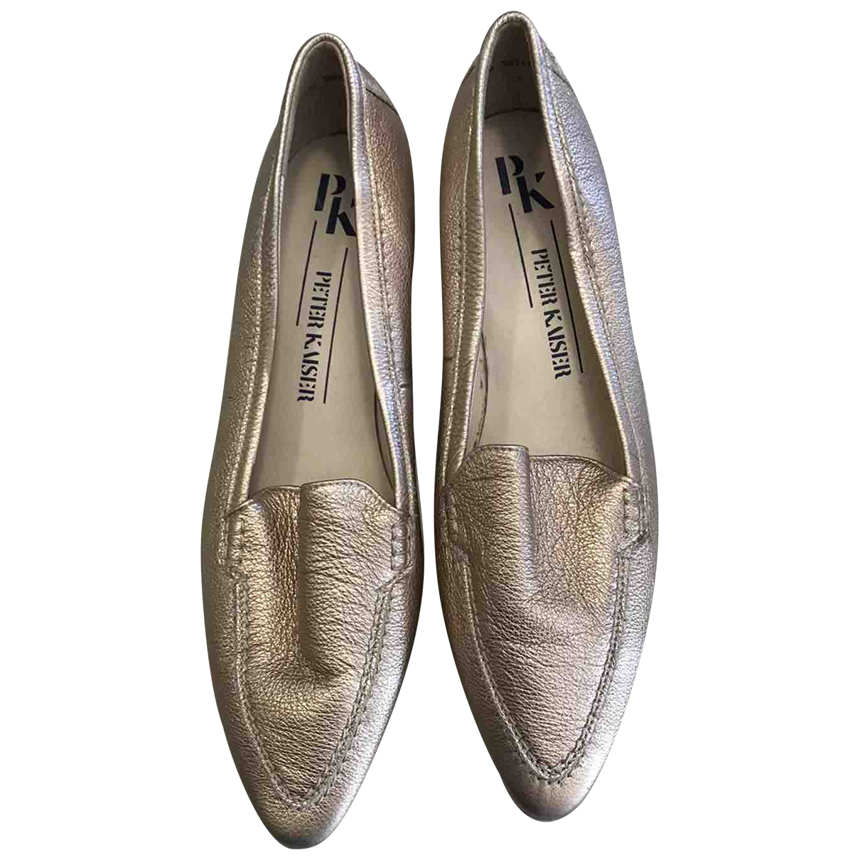 Peter Kaiser \N Gold Leather Flats for Women 6.5 UK