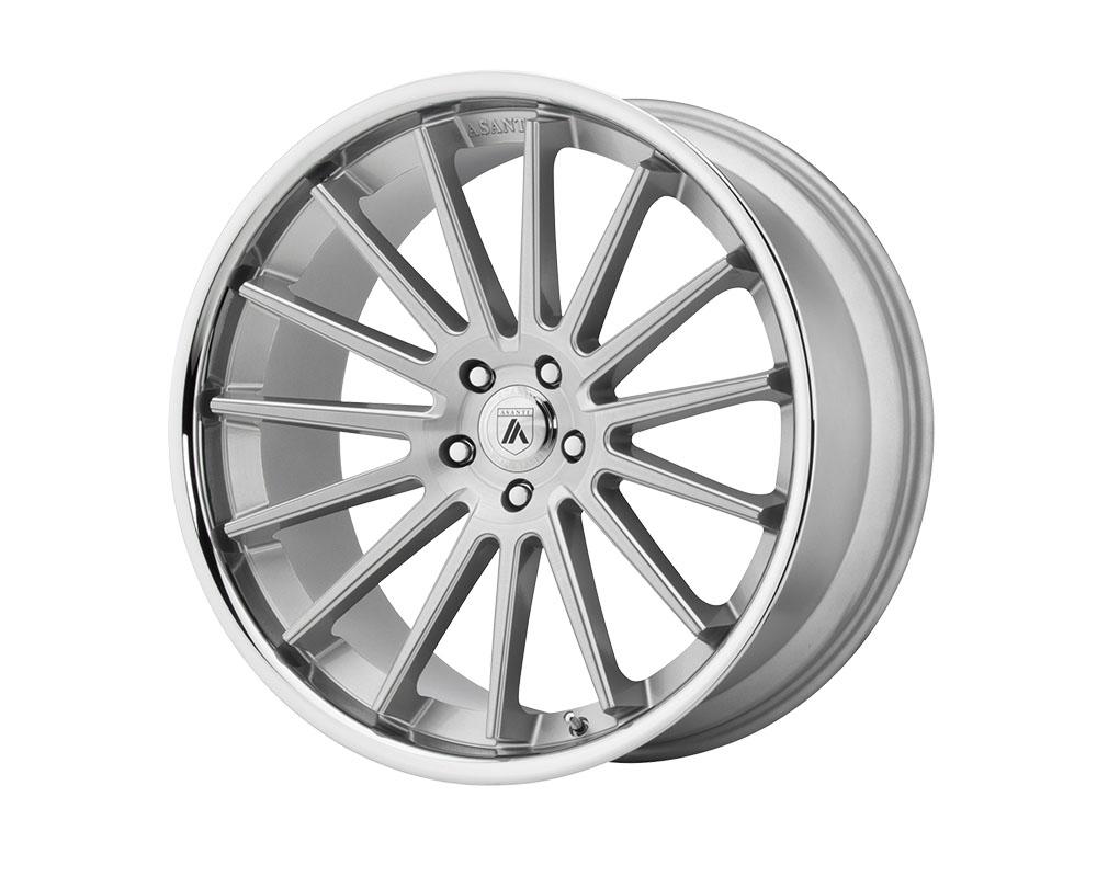 Asanti ABL24-22050025SL Black ABL-24 Beta Wheel 22x10.5 Blank +25mm Brushed Silver Chrome Lip