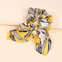 Chain Print Bow Decor Scrunchie