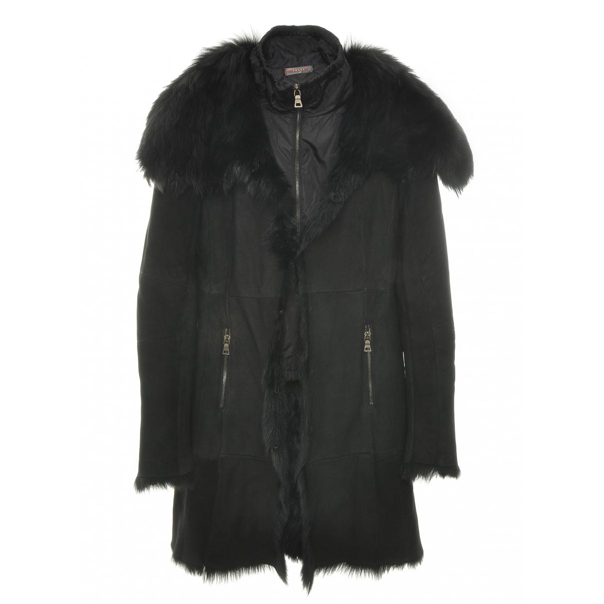 Prada - Manteau   pour femme en fourrure - noir