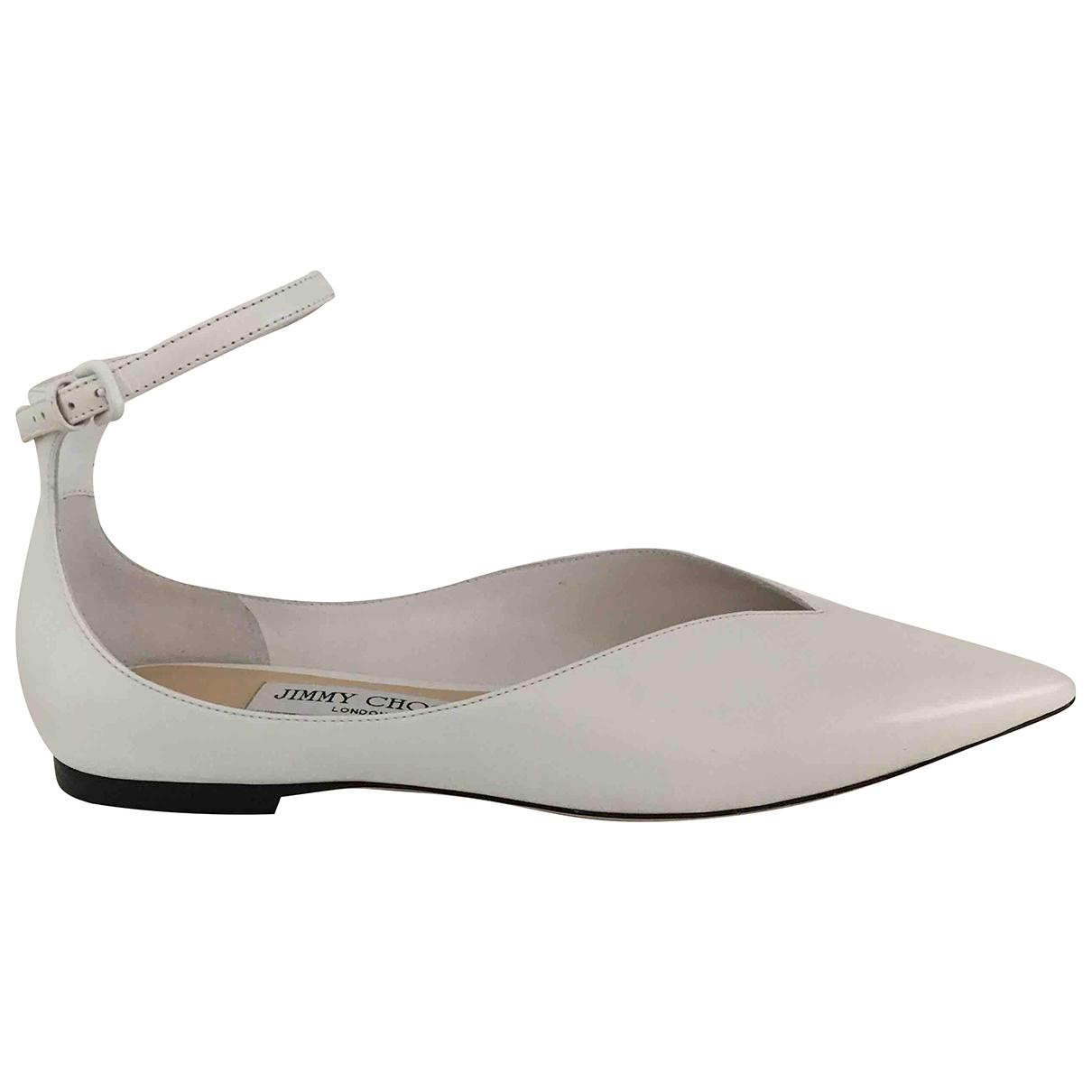 Jimmy Choo \N White Leather Ballet flats for Women 38 EU