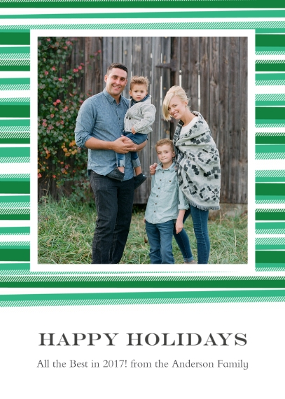 Holiday Photo Cards 5x7 Cards, Premium Cardstock 120lb with Rounded Corners, Card & Stationery -Blanket Border Happy Holidays