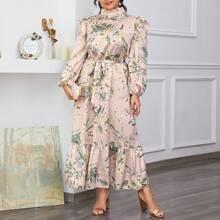 Plus Tropical Print Stand Neck Ruffle Hem Belted Satin Dress