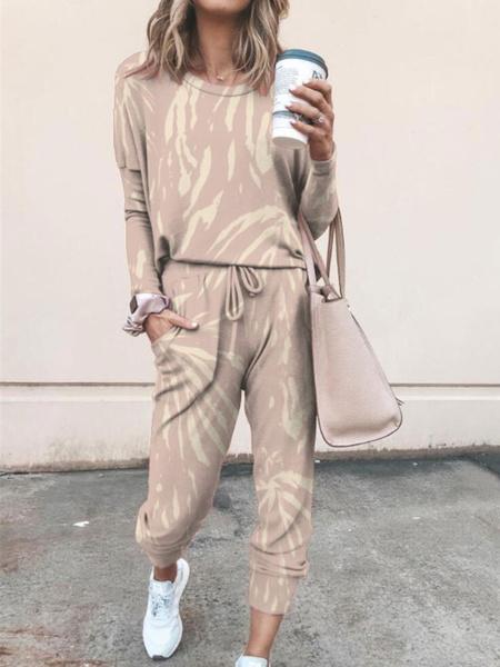 Milanoo de las mujeres Loungewear 2-pieza elegante y moderno fibras largas de la manga cuello de la joya de algodon europeo y americano de otoño y del