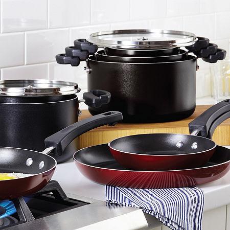 Farberware Neat Nest Saucepan Set 4-pc. Aluminum Dishwasher Safe Non-Stick Cookware Set, One Size , Black