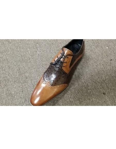 Mens Tan ~ Brown Two Tone Shoe Lace Up