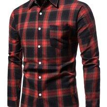 Hemd mit Karo Muster, Taschen Flicken und Knopfen