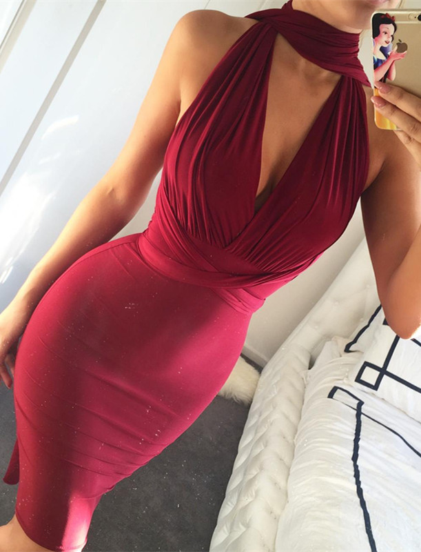 Charming Burgundy High-Neck Short Prom Dress Mermaid Tight BA3913