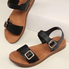 Sandalias planas con tira tobillera de punta abierta con doble hebilla