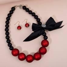 Christmas Bow Decor Beaded Necklace